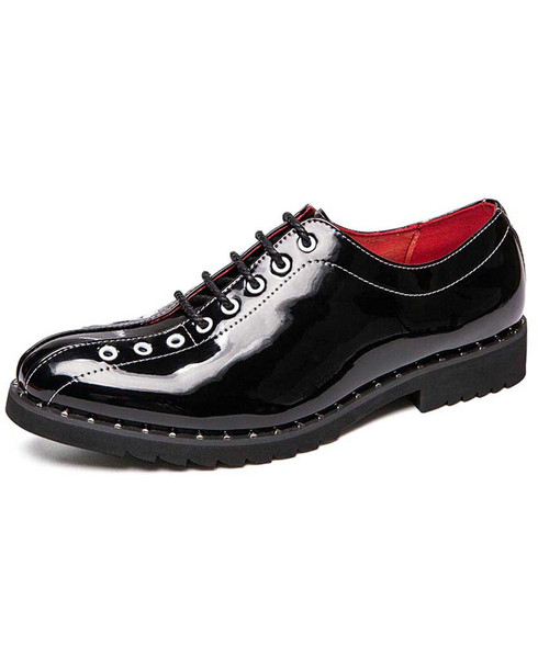 Black oxford patent leather dress shoe rivet decorated 01