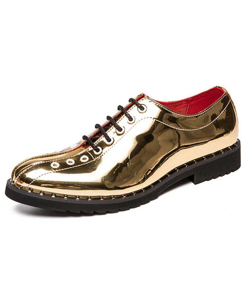 Golden oxford patent leather dress shoe rivet decorated 01