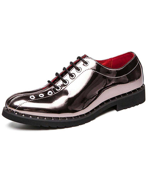 Silver oxford patent leather dress shoe rivet decorated 01