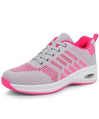 Grey pink flyknit stripe block texture shoe sneaker 01