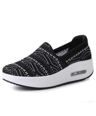 Black texture pattern slip on rocker bottom shoe sneaker 01