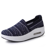 Navy texture pattern slip on rocker bottom shoe sneaker 01