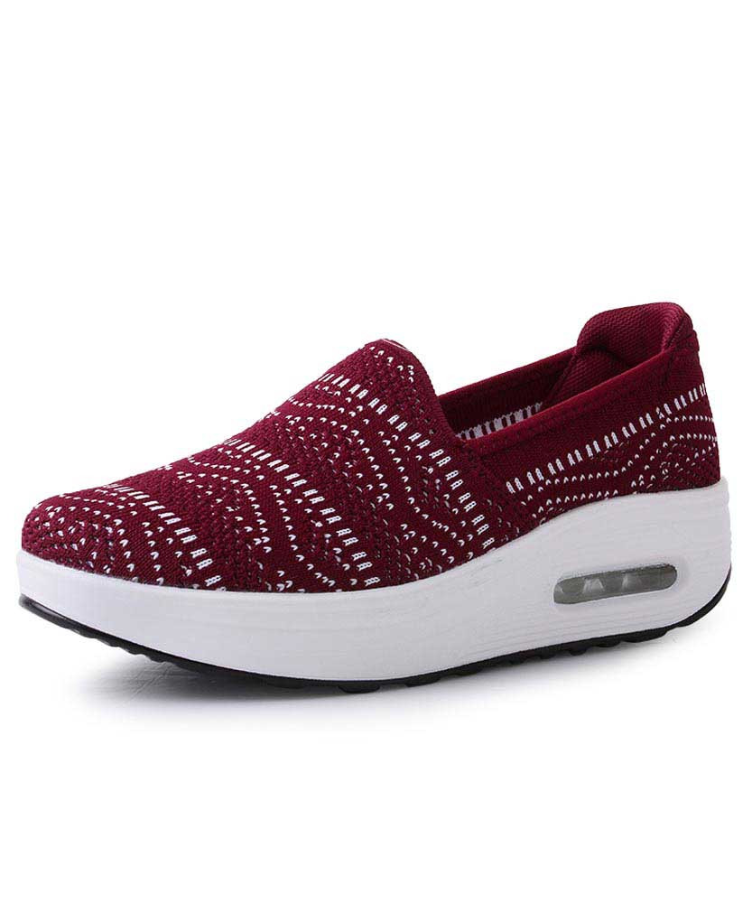 ad0bb0e49709 Red texture pattern slip on rocker bottom shoe sneaker 01