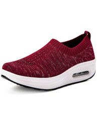 Red texture detail slip on rocker bottom shoe sneaker 01