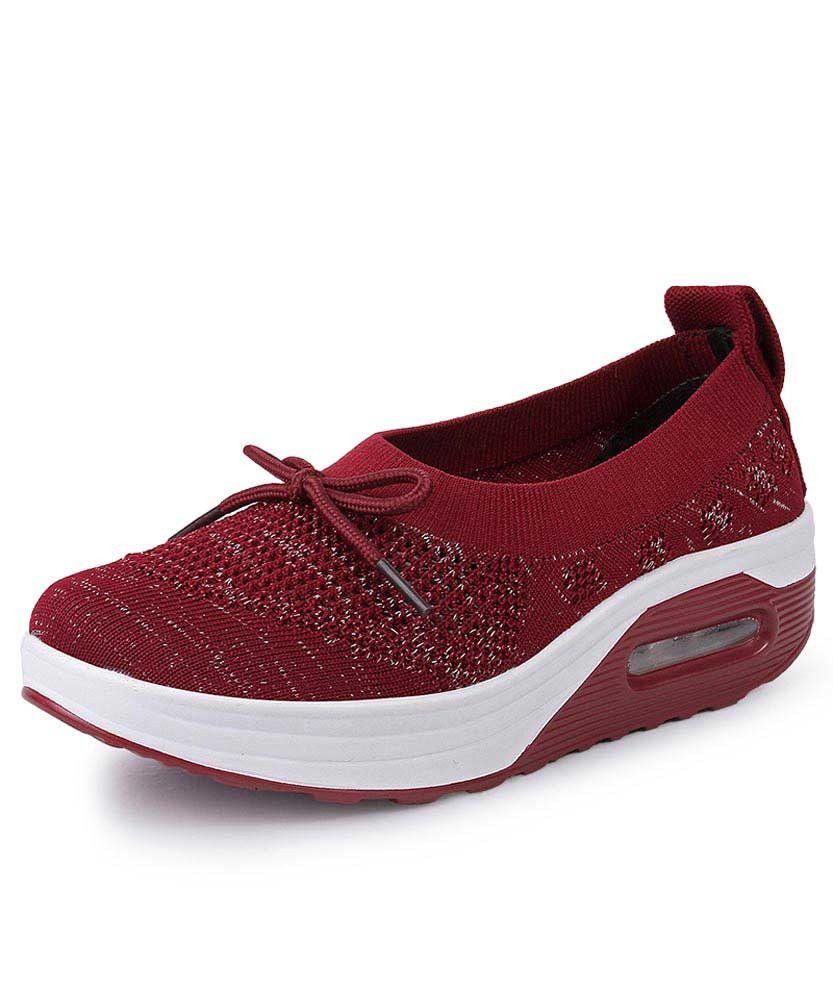 50829041d9b6 Red flyknit low cut slip on rocker bottom shoe sneaker 01