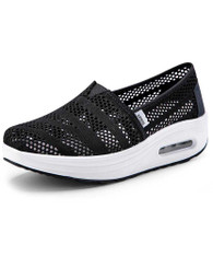 Black flyknit hollow slip on rocker bottom shoe sneaker 01