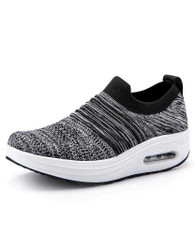 Dark grey flyknit stripe slip on rocker bottom shoe sneaker 01