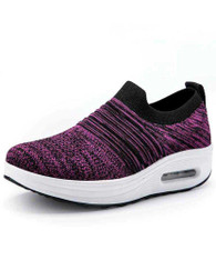 Purple flyknit stripe slip on rocker bottom shoe sneaker 01
