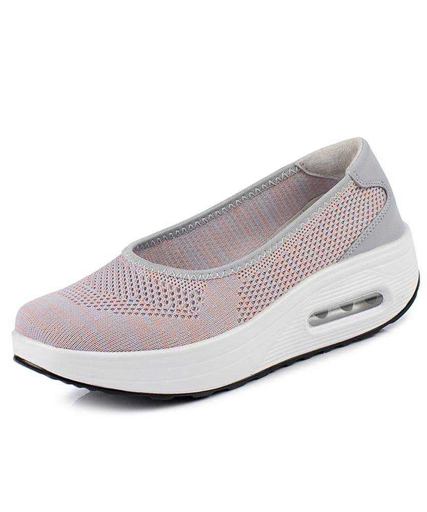 1b015420b9ae Grey low cut texture slip on rocker bottom shoe sneaker