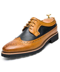 Brown two tone brogue leather derby dress shoe 01