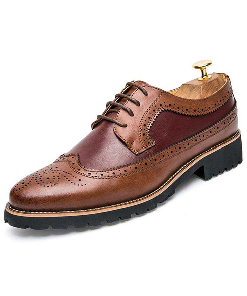 Red brown two tone brogue leather derby dress shoe 01