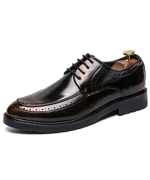 Black golden retro brogue leather derby dress shoe 01