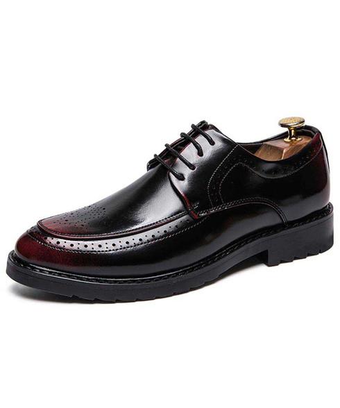 Black red retro brogue leather derby dress shoe 01