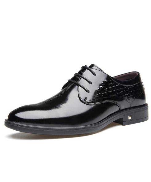 Black pattern leather derby dress shoe with rivet 01