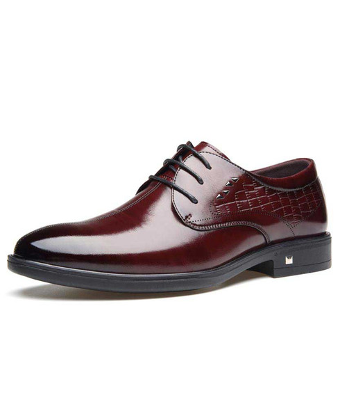 Red brown pattern leather derby dress shoe with rivet 01