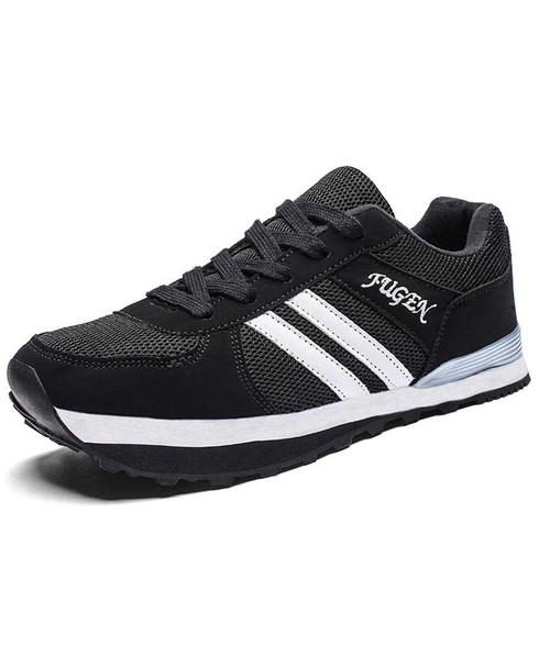Black stripe pattern negative heel shoe sneaker 01