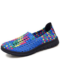 Blue check mix color weave slip on shoe sneaker 01