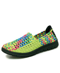 Green check mix color weave slip on shoe sneaker 01
