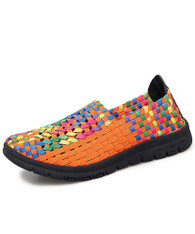 Orange check mix color weave slip on shoe sneaker 01