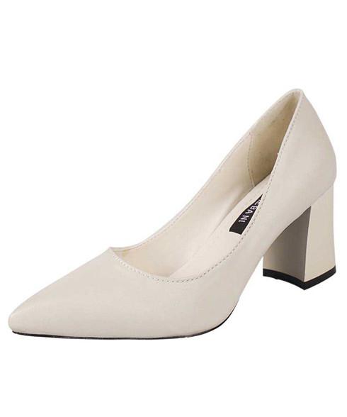 Beige slip on mid thick heel dress shoe in plain 01