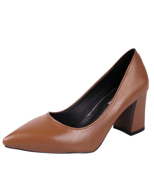 Brown slip on mid thick heel dress shoe in plain 01