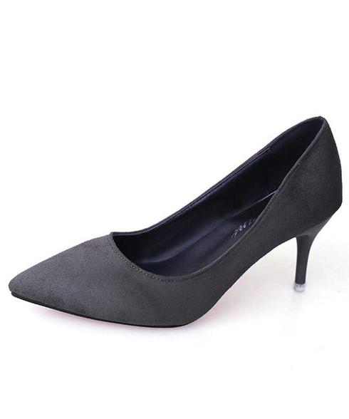 Grey slip on high heel dress shoe in plain 01
