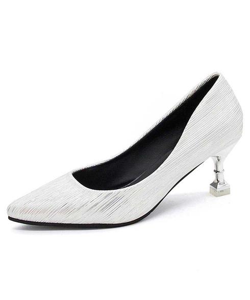 White stripe texture slip on mid heel dress shoe 01