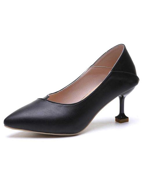 Black plain slip on mid heel dress shoe 01