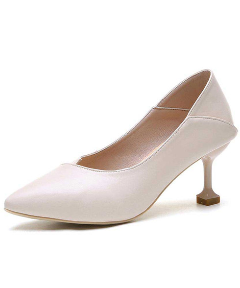 Beige plain slip on mid heel dress shoe 01