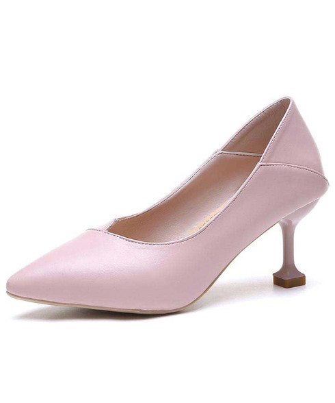 Pink plain slip on mid heel dress shoe 01