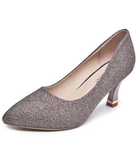 Brown sequin pattern slip on mid heel dress shoe 01