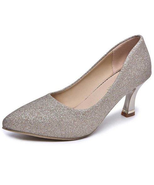 Golden sequin pattern slip on mid heel dress shoe 01
