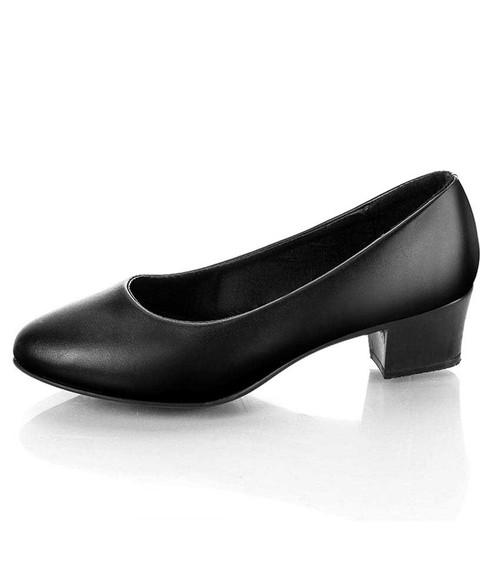 Black slip on low thick heel dress shoe in plain