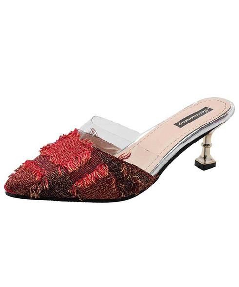 Red easy slip on mid heel shoe sandal 01