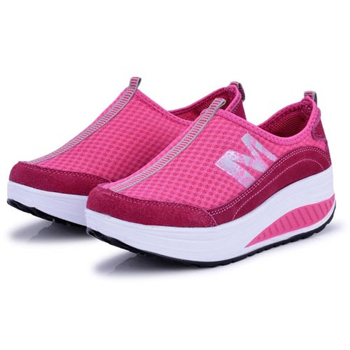 M letter pattern pink leather rocker bottom shoe sneaker 01