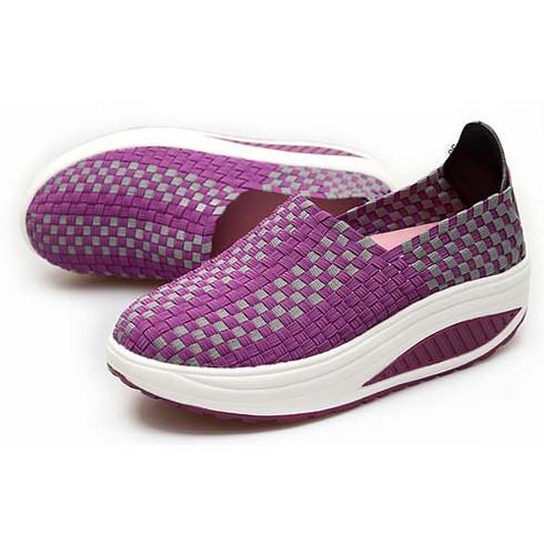Purple Knitting Style Casual Rocker Bottom Shoe Sneaker