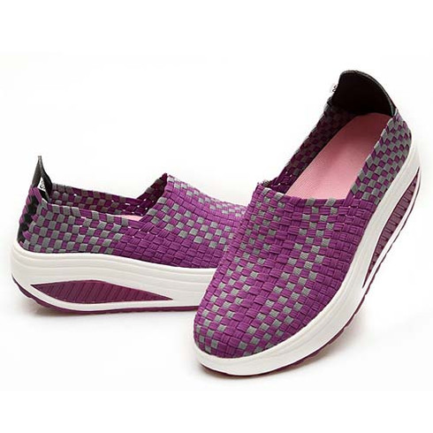 purple knitting style casual rocker bottom shoe sneaker