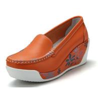 Floral print orange leather slip on platform shoe