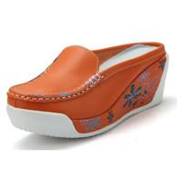Floral sketch orange leather slip on platform sandal