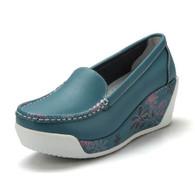 Floral print blue leather slip on platform shoe