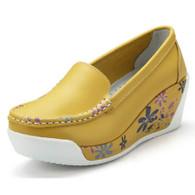 Floral print yellow leather slip on platform shoe