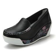 Floral print black leather slip on platform shoe