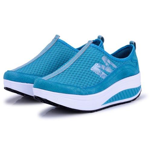 M Letter Pattern Blue Leather Rocker Bottom Shoe Sneaker