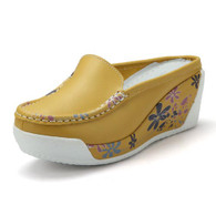 Floral sketch yellow leather slip on platform sandal