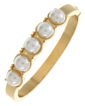 Pearl Hinged Bangle: Gold Or Silver