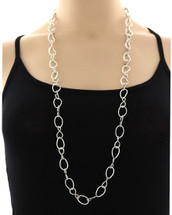 Silvery Links Long Necklace