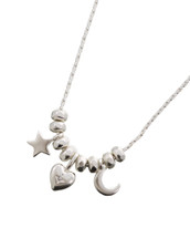 Heart, Moon Star Necklace: Gold Or Silver