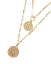 Dual Coins Layered Necklace: Gold Or Silver