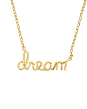 Gold Dipped Dream Script Necklace