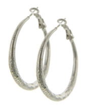 Etched Silver Tone Hoops